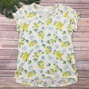 T La yellow floral lemon print top